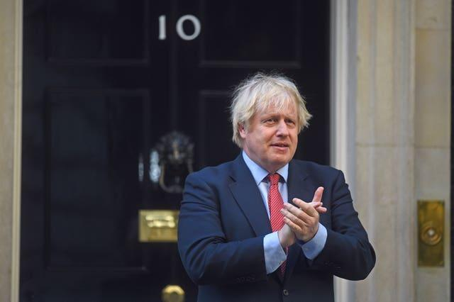 Prime Minister Boris Johnson joins in the Clap for Carers (Kirsty O'Connor/PA)
