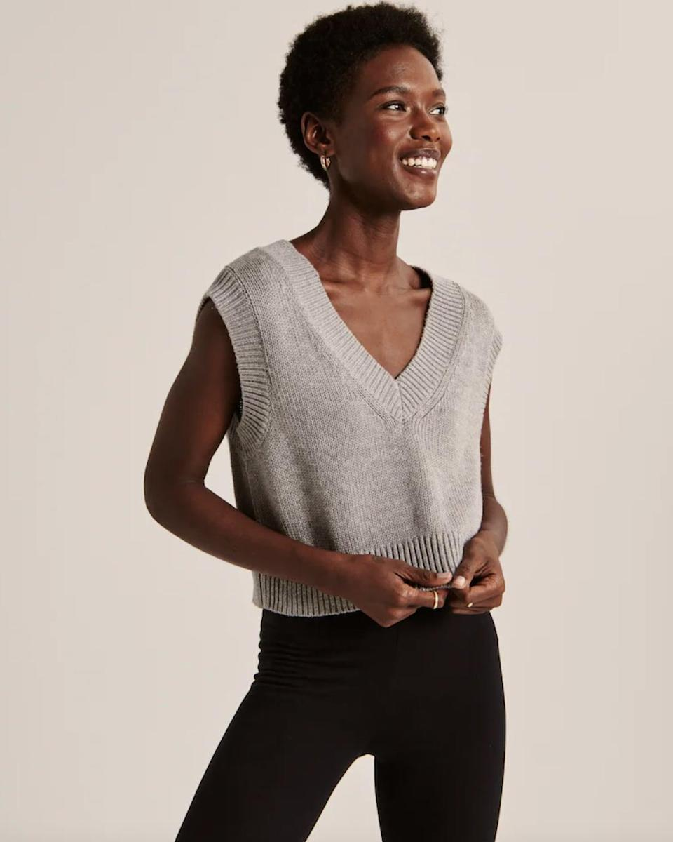 <p>Style this <span>Cropped Sweater Vest</span> ($49) with your favorite short-sleeved tee and blue jeans.</p>