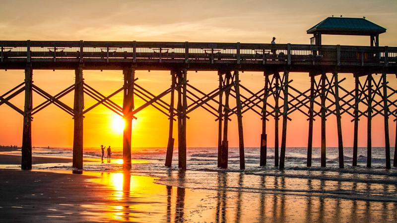 Folly Beach pier in Charleston South Carolina east coast city