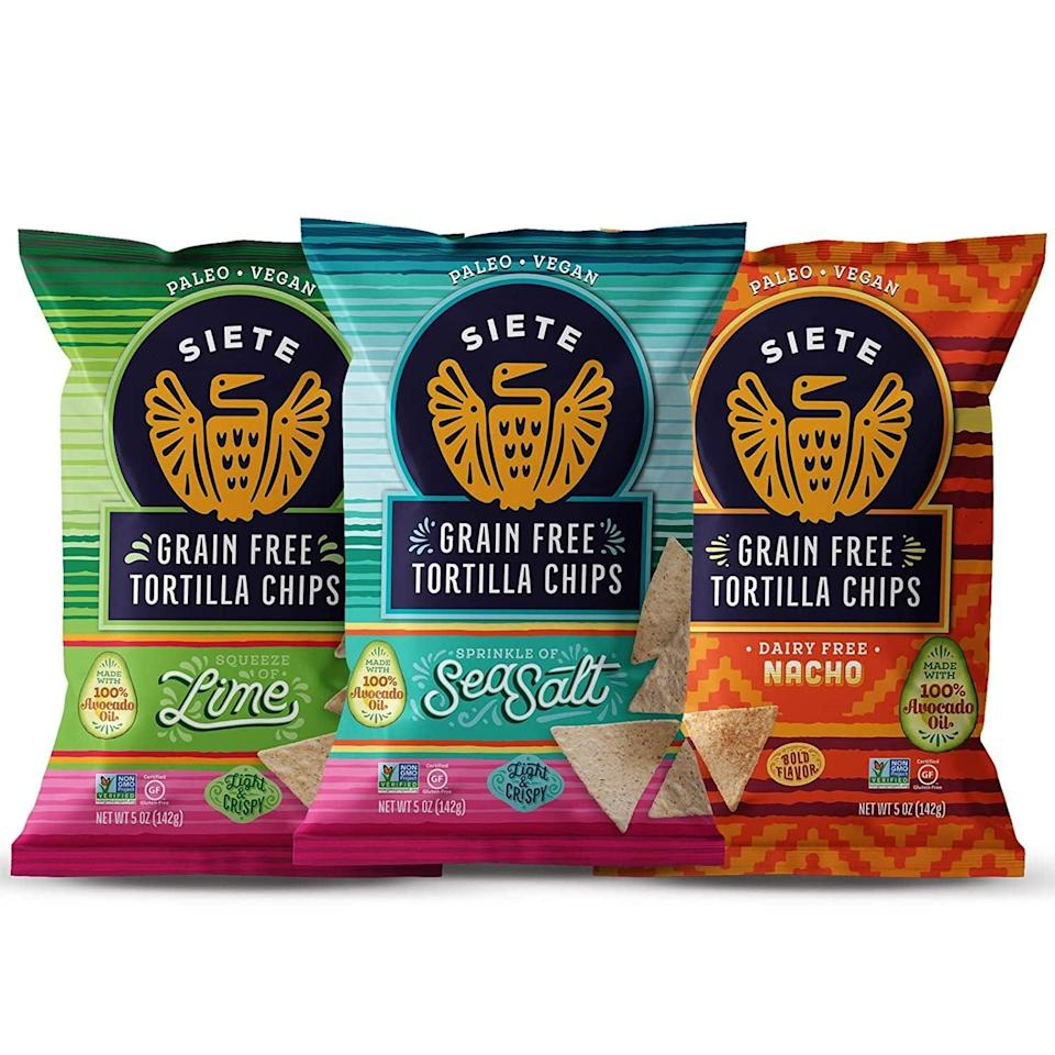 <p>These <span>Siete Grain Free Tortilla Chips Mix</span> ($36 for six) are, in my opinion, even better than the real thing. The nacho flavor tastes like Doritos, and the lime flavor goes perfectly with guacamole.</p>