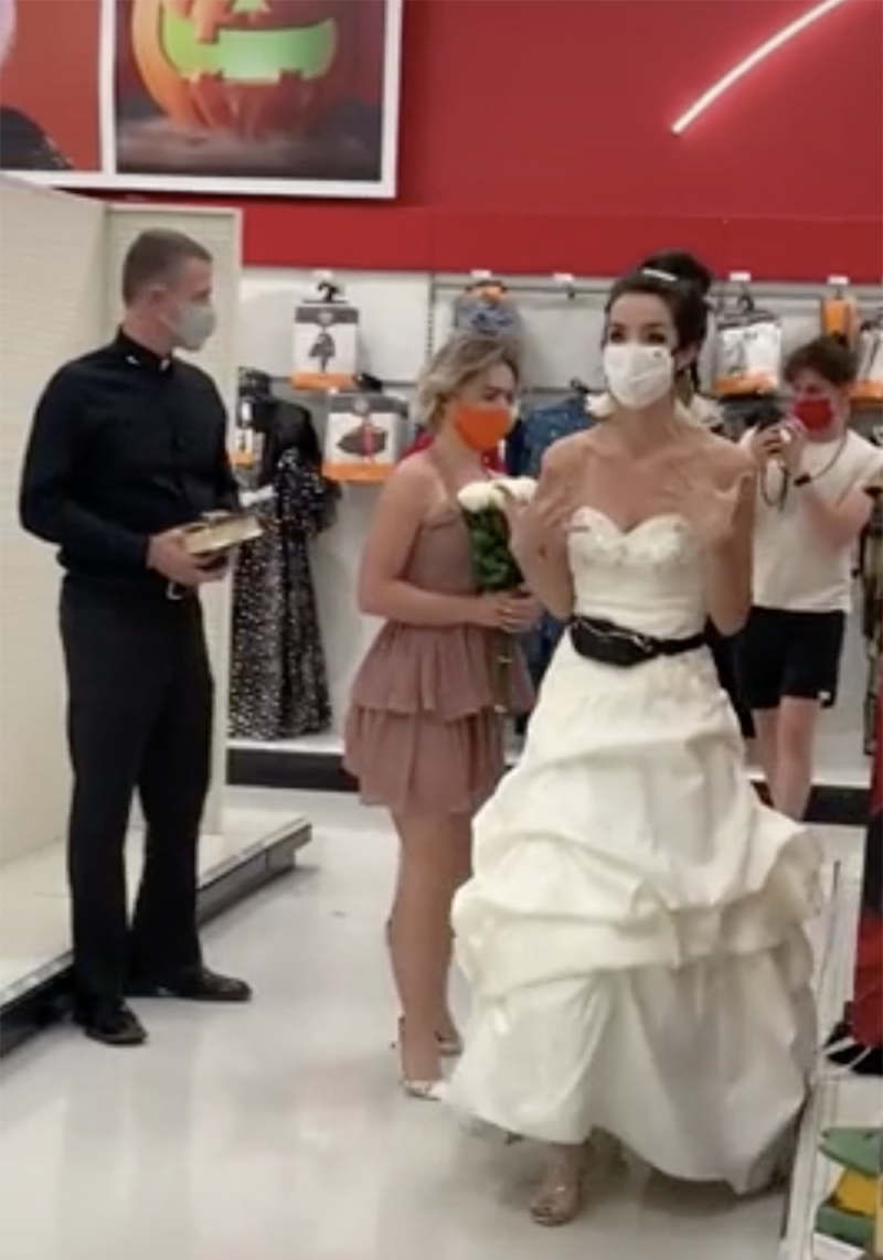 The bride-to-be brought a bridesmaid and a pastor up the aisles as she searched for her unsuspecting fiancé. Photo: TikTok/@boymom_ashley