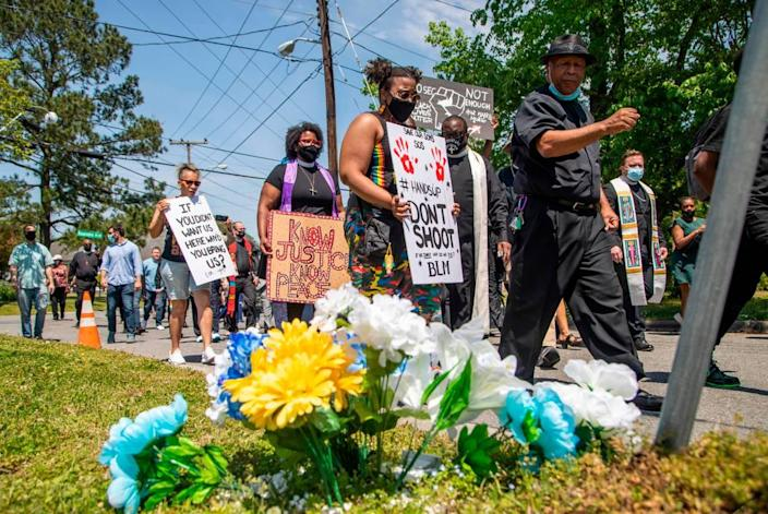 Demonstrators, led by clergy, march Wednesday, April 28, 2021 from Mt. Lebanon AME Zion Church in Elizabeth City to the site where Andrew Brown Jr. was shot and killed by Pasquotank County Sheriff deputies. A Pasquotank County judge denied the petition by the media to release the body camera footage in the shooting of Andrew Brown Jr.