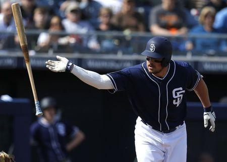 FILE PHOTO: Feb 24, 2019; Peoria, AZ, USA; San Diego Padres right fielder Hunter Renfroe (10) draws a walk in the first inning during a spring training game against the Chicago White Sox at Peoria Stadium. Mandatory Credit: Rick Scuteri-USA TODAY Sports