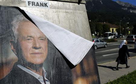File photo of election poster of Austro-Canadian businessman and billionaire Stronach