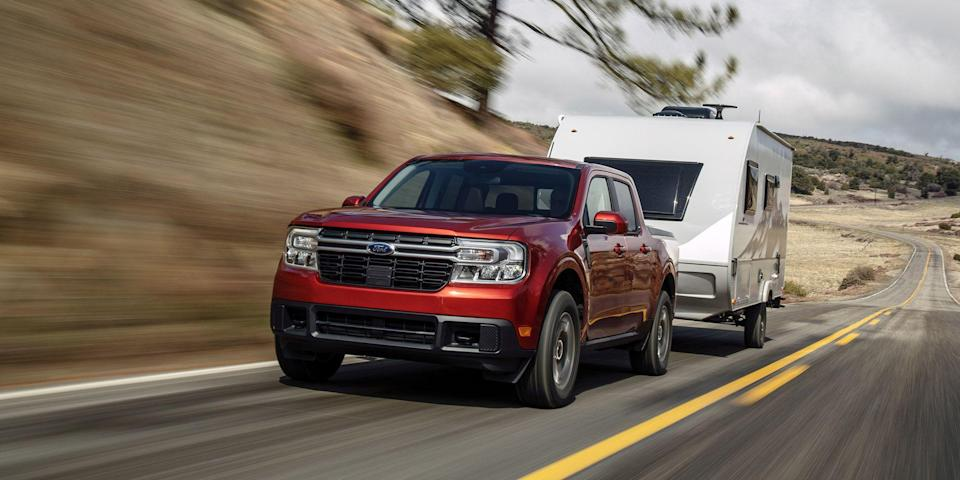 """<p>Ford's new compact pickup doesn't just compete against the rest of the mid-size pickup truck segment, it wants to do what crossovers like the <a href=""""https://www.caranddriver.com/ford/escape"""" rel=""""nofollow noopener"""" target=""""_blank"""" data-ylk=""""slk:Ford Escape"""" class=""""link rapid-noclick-resp"""">Ford Escape</a>, <a href=""""https://www.caranddriver.com/honda/cr-v"""" rel=""""nofollow noopener"""" target=""""_blank"""" data-ylk=""""slk:Honda CR-V"""" class=""""link rapid-noclick-resp"""">Honda CR-V</a>, and <a href=""""https://www.caranddriver.com/toyota/rav4"""" rel=""""nofollow noopener"""" target=""""_blank"""" data-ylk=""""slk:Toyota RAV4"""" class=""""link rapid-noclick-resp"""">Toyota RAV4</a> have been doing for years. It wants to kill the sedan. The <a href=""""https://www.caranddriver.com/ford/maverick"""" rel=""""nofollow noopener"""" target=""""_blank"""" data-ylk=""""slk:Maverick"""" class=""""link rapid-noclick-resp"""">Maverick</a>'s standard 191-hp hybrid powertrain and sub-$22,000 starting price are its most lethal weapons. Although the EPA hasn't released numbers yet, Ford says the goal is an EPA-estimated 40 mpg in the city. This could make the Maverick pickup would more efficient than <a href=""""https://www.caranddriver.com/features/g15382442/best-gas-mileage-nonhybrid-cars-gasoline-nonelectric/"""" rel=""""nofollow noopener"""" target=""""_blank"""" data-ylk=""""slk:every gas-only car sold in the U.S today"""" class=""""link rapid-noclick-resp"""">every gas-only car sold in the U.S today</a>—at least in the city mpg metric. That's a big deal for a baby truck.</p><p>There's a lot about the Maverick that makes it interesting in a segment it really only shares with the upcoming <a href=""""https://www.caranddriver.com/hyundai/santa-cruz"""" rel=""""nofollow noopener"""" target=""""_blank"""" data-ylk=""""slk:Hyundai Santa Cruz"""" class=""""link rapid-noclick-resp"""">Hyundai Santa Cruz</a>. Here's what you should know about the compact pickup that wants to be more efficient than the <a href=""""https://www.caranddriver.com/honda/civic"""" rel=""""nofollow noopener"""" target=""""_blank"""" data-ylk=""""slk:Honda Civic"""