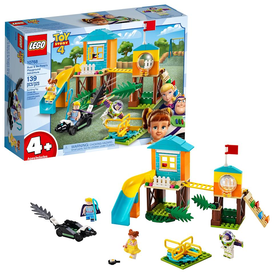 """<p>This <a href=""""https://www.popsugar.com/buy/Lego-strongToy-Story-4strong-Buzz-amp-Bo-Peep-Playground-Adventure-set-462061?p_name=Lego%20%3Cstrong%3EToy%20Story%204%3C%2Fstrong%3E%20Buzz%20%26amp%3B%20Bo%20Peep%27s%20Playground%20Adventure%20set&retailer=walmart.com&pid=462061&evar1=moms%3Aus&evar9=46502951&evar98=https%3A%2F%2Fwww.popsugar.com%2Fphoto-gallery%2F46502951%2Fimage%2F46502958%2FLego-Toy-Story-4-Buzz-Bo-Peep-Playground-Adventure&list1=gift%20guide%2Clego%2Ctoy%20story%2Cparenting%20gift%20guide%2Ctoy%20story%204&prop13=api&pdata=1"""" rel=""""nofollow"""" data-shoppable-link=""""1"""" target=""""_blank"""" class=""""ga-track"""" data-ga-category=""""Related"""" data-ga-label=""""https://www.walmart.com/ip/LEGO-4-Toy-Story-4-Buzz-Bo-Peep-s-Playground-Adventure-10768/216830687"""" data-ga-action=""""In-Line Links"""">Lego <strong>Toy Story 4</strong> Buzz &amp; Bo Peep's Playground Adventure set</a> ($19, originally $25) has 139 pieces and is best suited for kids ages 4 and up.</p>"""