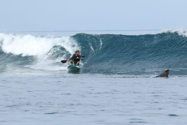 Sam Danniels surfing in the documentary Beyond the Break.
