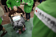 <p>FILE PHOTO: In this handout images provided by the International Federation of Red Cross Japan, an elderly woman is seen at the Ishinomaki Japanese Red Cross hospital the elderly and the young are particularly vulnerable to contracting pneumonia after an 9.0 magnitude strong earthquake struck on March 11, off the coast of north-eastern Japan, March 12, 2011 in Ishinomaki, Japan. (Photo: Japanese Red Cross/IFRC via Getty Images)</p>
