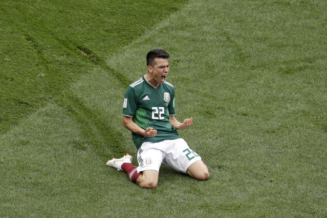 FILE- In this June 17, 2018 file photo, Mexico's Hirving Lozano celebrates after scoring the opening goal during the group F match between Germany and Mexico at the 2018 soccer World Cup in the Luzhniki Stadium in Moscow, Russia. Lozano has been acquired by Napoli, it was announced Friday, Aug. 23, 2019. (AP Photo/Michael Probst, File)