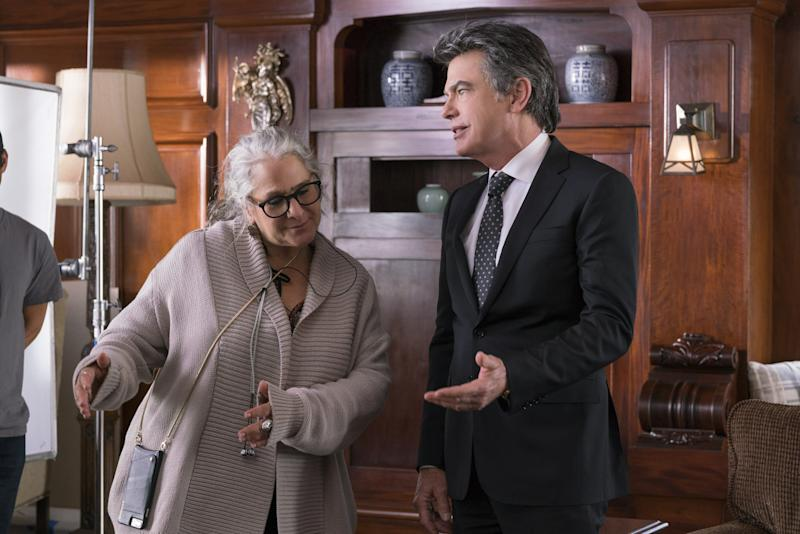 Giving Peter Gallagher directing cues during an episode of Grace and Frankie