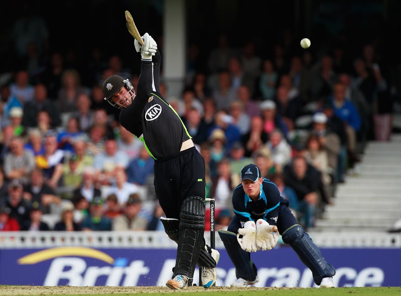 LONDON, ENGLAND - SEPTEMBER 04:  Tom Maynard of Surrey hits out during the Clydesdale Bank 40 Semi Final match between Surrey and Sussex at The Kia Oval on September 4, 2011 in London, England.  (Photo by Paul Gilham/Getty Images)