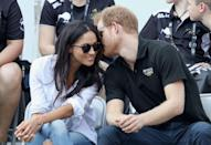 "<p>Just a few weeks before this was taken, Meghan revealed details of their relationship in <em>Vanity Fair.</em></p><p>""We're a couple. We're in love. I'm sure there will be a time when we will have to come forward and present ourselves and have stories to tell, but I hope what people will understand is that this is our time,"" <a href=""https://www.townandcountrymag.com/society/tradition/a12172608/meghan-markle-vanity-fair-interview/"" rel=""nofollow noopener"" target=""_blank"" data-ylk=""slk:she said."" class=""link rapid-noclick-resp"">she said.</a> ""This is for us. It's part of what makes it so special, that's just ours. But we're happy. Personally, I love a great love story.""<br></p>"