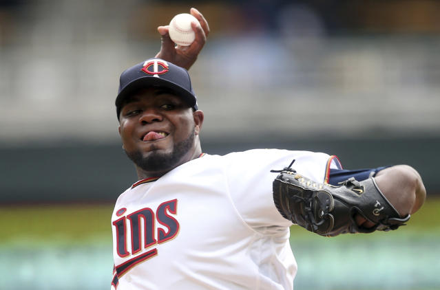 Minnesota Twins pitcher Michael Pineda throws against the Toronto Blue Jays in the first inning of a baseball game Thursday, April 18, 2019, in Minneapolis. (AP Photo/Jim Mone)