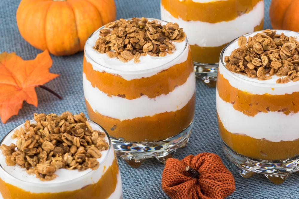 """<p>This adorable pumpkin pie parfait from<a href=""""https://kellystilwell.com/?referrer=yahoo&category=beauty_food&include_utm=1&utm_medium=referral&utm_source=yahoo&utm_campaign=feed""""> Kelly Stilwell</a> is ideal for fall. It's made with Greek yogurt, which means this recipe is equally well-suited for both breakfast or dessert.</p> <p><a href=""""https://kellystilwell.com/5-minute-maple-pumpkin-pie-parfait/?referrer=yahoo&category=beauty_food&include_utm=1&utm_medium=referral&utm_source=yahoo&utm_campaign=feed"""">For the 5-Minute Maple Pumpkin Pie Parfait recipe, click here.</a></p>"""