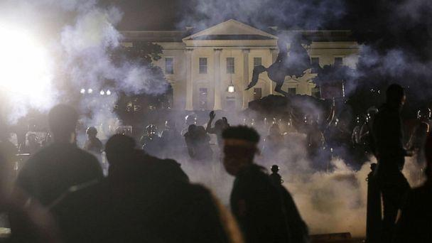 PHOTO: Tear gas fills the air as protesters rally outside the White House against the death in Minneapolis police custody of George Floyd, in Washington, D.C., May 31, 2020. (Jonathan Ernst/Reuters)