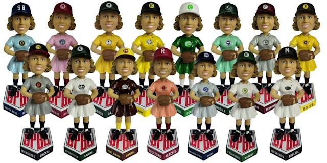 For the first time ever, there will be a full set of bobbleheads for all 15 teams in the All-American Girls Professional Baseball League. (National Bobblehead Hall of Fame)