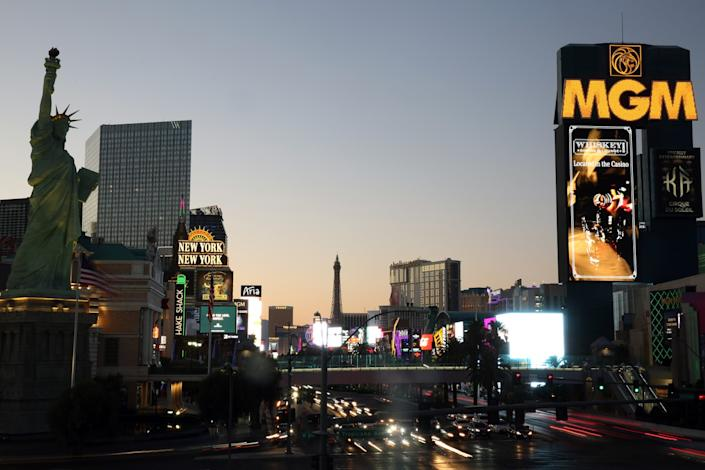 """The Strip at dusk on July 5 where resorts continue to reopen amid the pandemic. <span class=""""copyright"""">(Dania Maxwell / Los Angeles Times)</span>"""