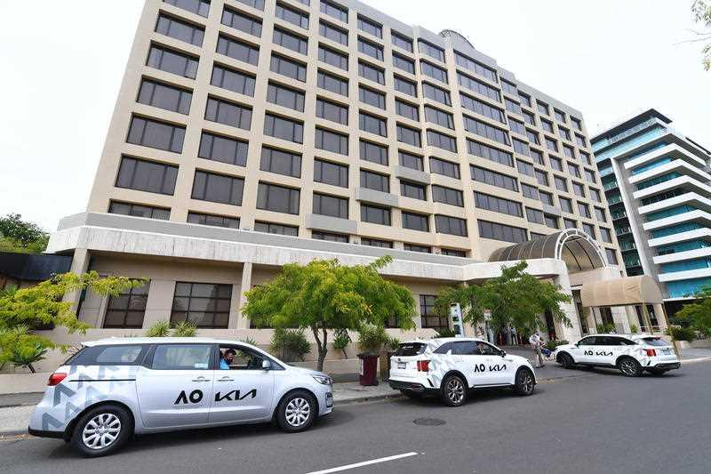 The View Hotel, which was used to house arrivals for the Australian Open, hosted the outdoor gathering. Source: AAP