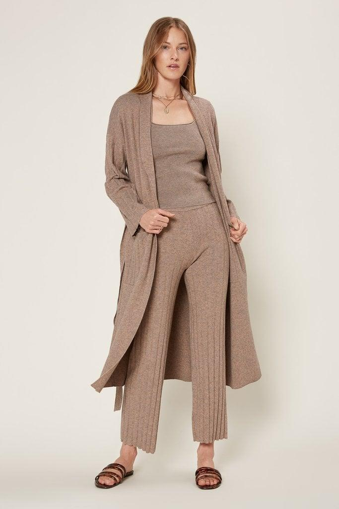 "<p>""I'm obsessed with this three piece set from Current Air. I can style the<span>Current Air Square Neckline Ribbed Knit Top</span> ($60), <span>Current Air Chloe Melange Belted Cardigan</span> ($145), and <span>Current Air Melange Ribbed Knit Pants</span> ($95) all together, or I can mix and match.""</p>"
