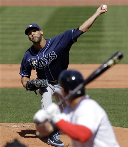 Tampa Bay Rays starting pitcher David Price pitches to Boston Red Sox center fielder Jacoby Ellsbury during the first inning of a baseball game at Fenway Park in Boston, Friday, April 13, 2012. (AP Photo/Elise Amendola)