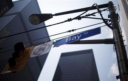 A Bay Street sign is seen in the heart of the financial district in Toronto