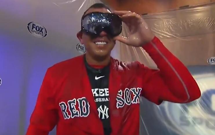 Alex Rodriguez sports goggles, champagne and a Red Sox uniform after losing Yankees ALDS bet with David Ortiz. (FS1)
