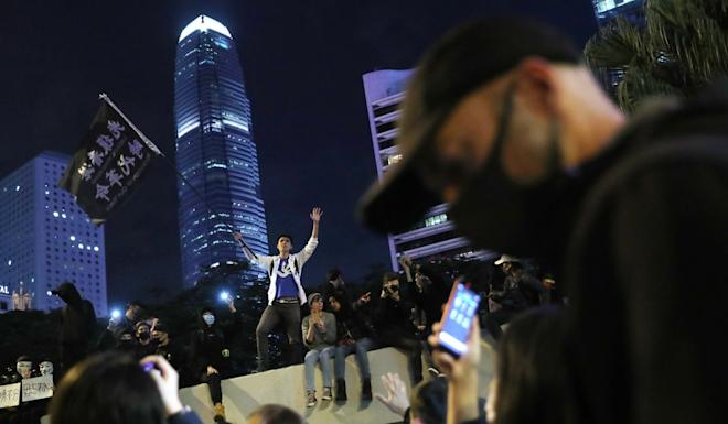 Protesters gather at the march's end point in Central. Photo: Sam Tsang