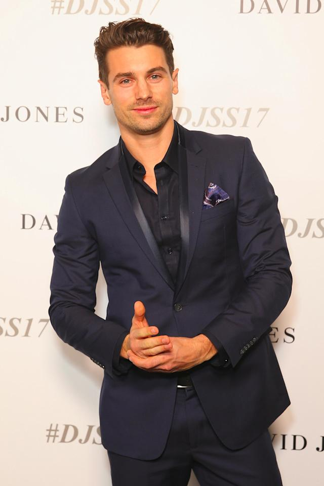 Bachelor babe Matty J looking smoking in a deep blue suit. Photo: Getty