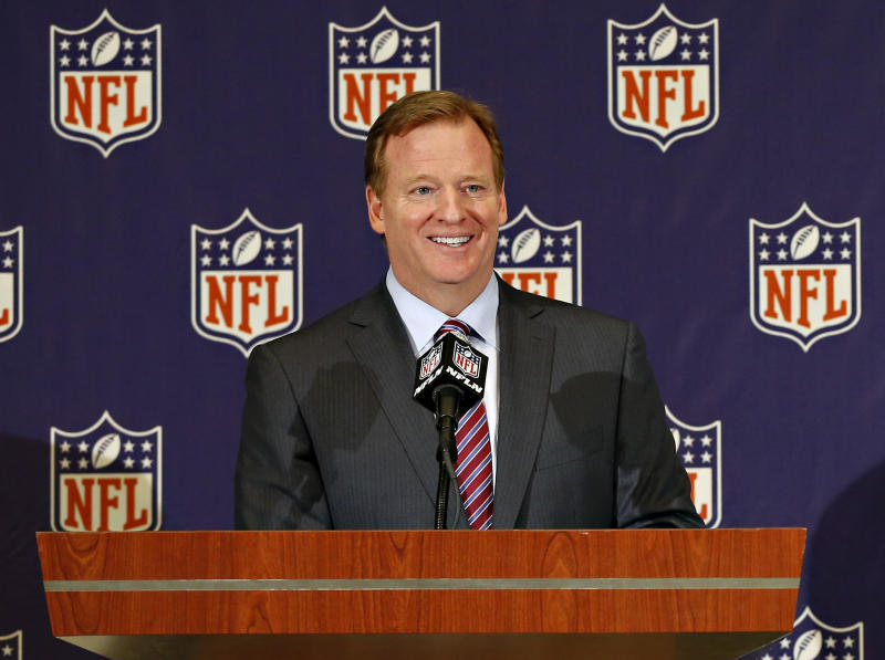 NFL commissioner Roger Goodell speaks during a news conference at the Arizona Biltmore, Monday, March 18, 2013, in Phoenix for the start of NFL football annual meetings (AP Photo/Matt York)