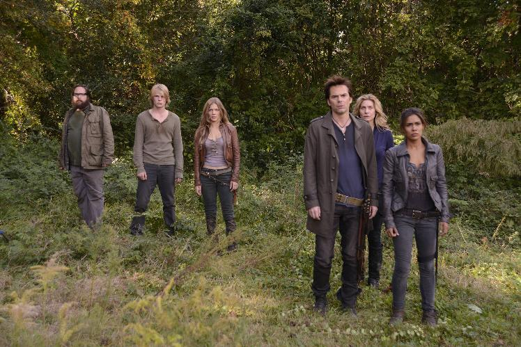 "This publicity image released by NBC shows, from left, Zak Orth as Aaron, Graham Rogers as Danny Matheson, Tracy Spiridakos as Charlie Matheson, Billy Burke as Miles Matheson, Elizabeth Mitchell as Rachel Matheson, and Daniella Alonso as Nora from the series, ""Revolution,"" returning March 25, 2013 on NBC. (AP Photo/NBC, Brownie Harris)"
