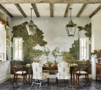 """<p>We may not all have a grand mural hand painted by <a href=""""https://www.bobchristiandecorativeart.com/"""" rel=""""nofollow noopener"""" target=""""_blank"""" data-ylk=""""slk:Bob Christian"""" class=""""link rapid-noclick-resp"""">Bob Christian</a>, but there are other ways to bring the outdoors in with fall greenery in a textured vase like <a href=""""https://www.veranda.com/decorating-ideas/house-tours/a33487574/beth-webb-brays-island-house-tour/"""" rel=""""nofollow noopener"""" target=""""_blank"""" data-ylk=""""slk:Beth Webb"""" class=""""link rapid-noclick-resp"""">Beth Webb</a> expertly styles here. </p>"""