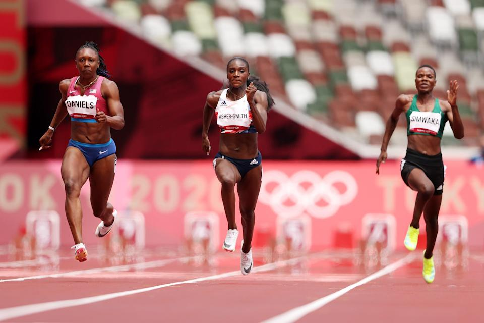 Dina Asher-Smith finished second in her 100m heat (Getty Images)
