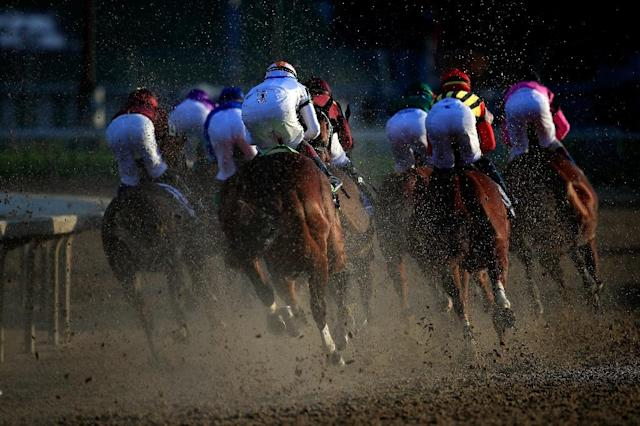 The Breeders' Cup Classic field enters the first turn at Churchill Downs (AFP Photo/ANDY LYONS)