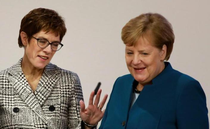 During her time as the CDU leader 'AKK' tried to push the party away from the moderate line taken by Merkel and further to the right (AFP Photo/Odd ANDERSEN)