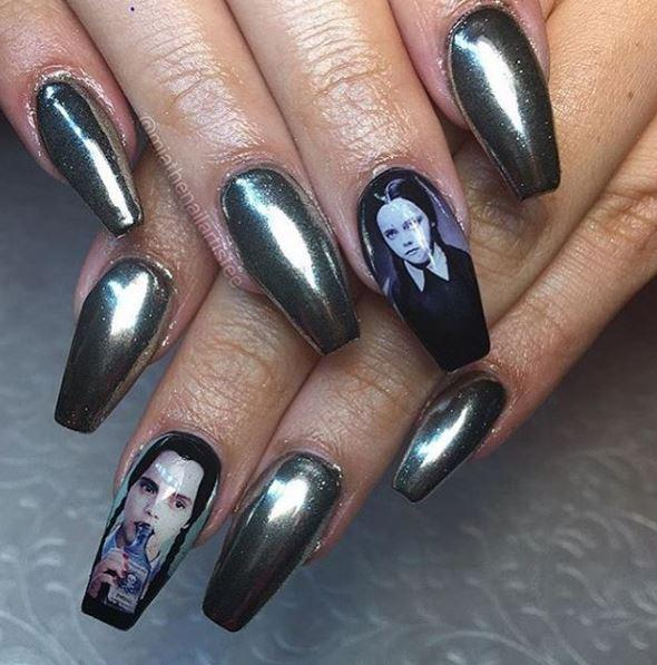 These nail decals featuring Wednesday Addams, Frida Kahlo, and more ...