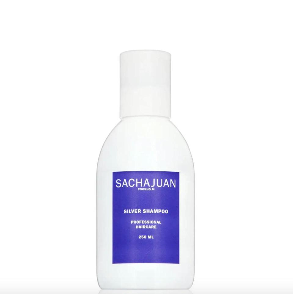 <p>Free of parabens and phthalates, you can feel good about using this <span>Sachajuan Silver Shampoo</span> ($29). This double-duty shampoo not only making your locks lighter but also softer and more voluminous.</p>