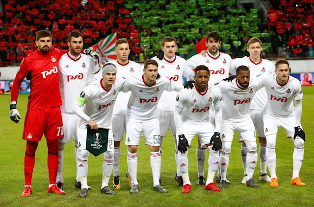 Soccer Football - Europa League Round of 16 Second Leg - Lokomotiv Moscow vs Atletico Madrid - RZD Arena, Moscow, Russia - March 15, 2018 Lokomotiv Moscow players pose for a team group photo before the match REUTERS/Sergei Karpukhin