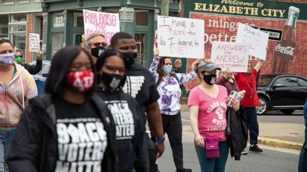 PHOTO: Protestors take to the streets calling for the release of body cam footage of the police shooting of Andrew Brown Jr. in Elizabeth City, N.C., April 24, 2021.  (Logan Cyrus/AFP via Getty Images)
