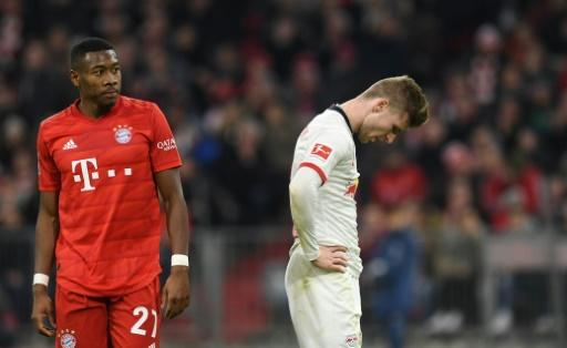 Leipzig striker rues his missed chance with an hour gone at Munich's Allianz Arena