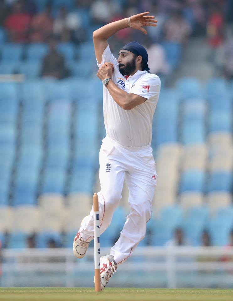 MUMBAI, INDIA - NOVEMBER 04:  Monty Panesar of England bowls during day two of the tour match between Mumbai A and England at The Dr D.Y. Palit Sports Stadium on November 4, 2012 in Mumbai, India.  (Photo by Gareth Copley/Getty Images)