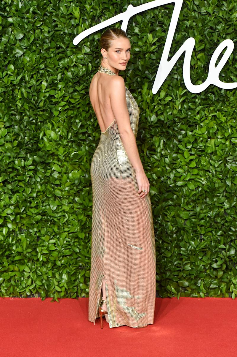 Rosie Huntington-Whiteley arrives at The Fashion Awards 2019