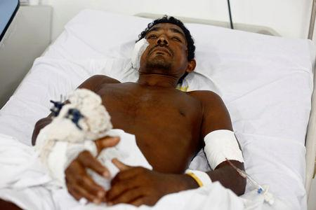 Ribamar from Brazil's indigenous Gamela tribe is pictured at a hospital after he was injured in a dispute over land in northern Brazil, in Sao Luis