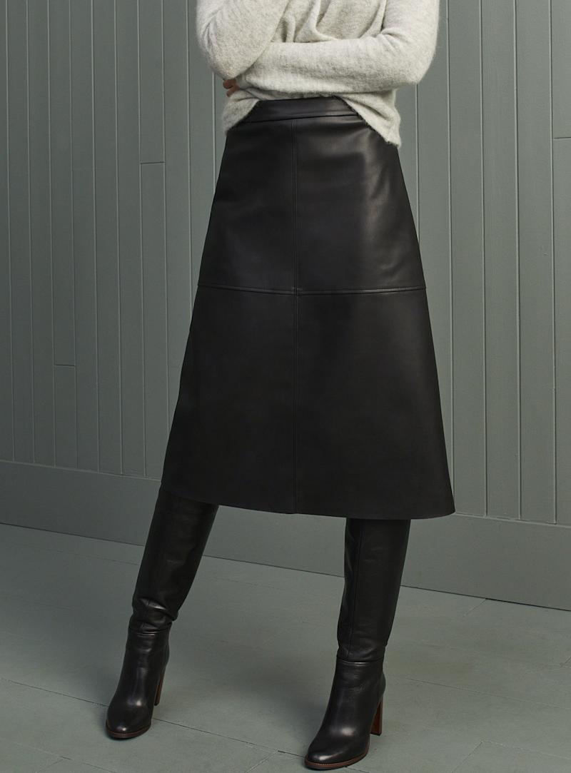 Contemporaine faux-leather midi skirt. Image via simons.ca.