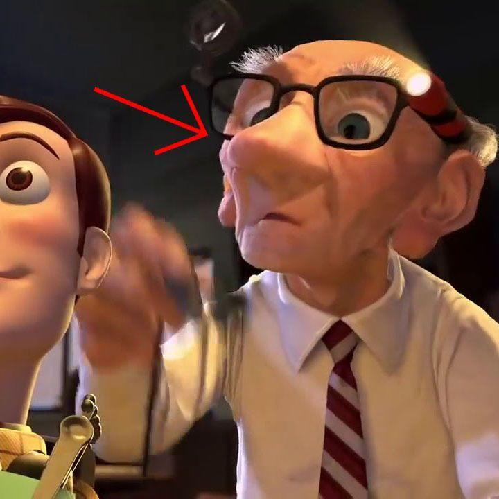 """<p>In <em>Toy Story 2</em>, if the person who's hired to clean Woody and fix him up looks familiar, it's because he's Geri from the early Pixar short """"<a href=""""https://www.youtube.com/watch?v=gLQG3sORAJQ"""" rel=""""nofollow noopener"""" target=""""_blank"""" data-ylk=""""slk:Geri's Game"""" class=""""link rapid-noclick-resp"""">Geri's Game</a>."""" In addition to doll-fixing, he's quite good at chess, apparently.</p>"""