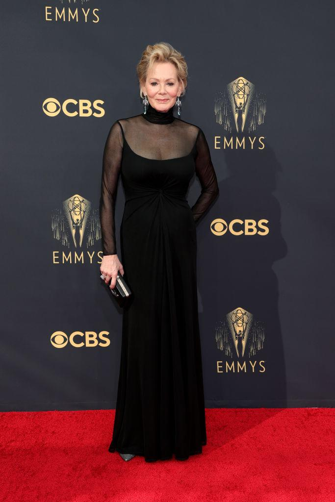 """<p>The """"Hacks"""" and """"Mare of Easttown"""" star looked elegant in a sheer look by Ralph Lauren.<em> (Image via Getty Images)</em></p>"""