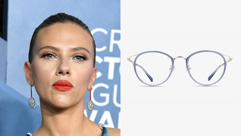 Scarlett Johansson, Dazzle Cat Eye Blue Eyeglasses. (Photo: Getty Images, EyeBuyDirect)