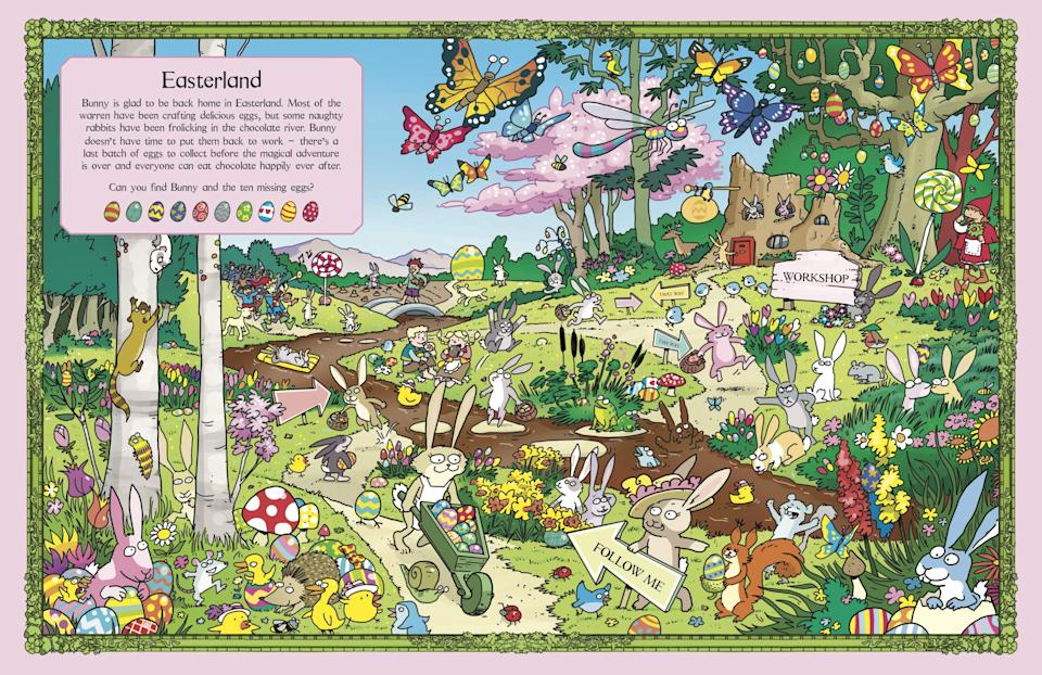 A page fromWhere's the Bunny?: An Egg-cellent Search and Find Book