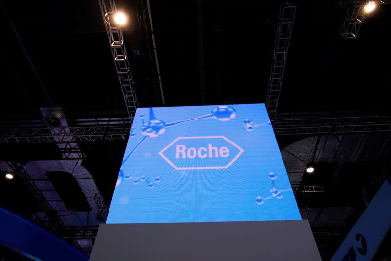 FILE PHOTO: Roche sign is seen at the third China International Import Expo (CIIE) in Shanghai