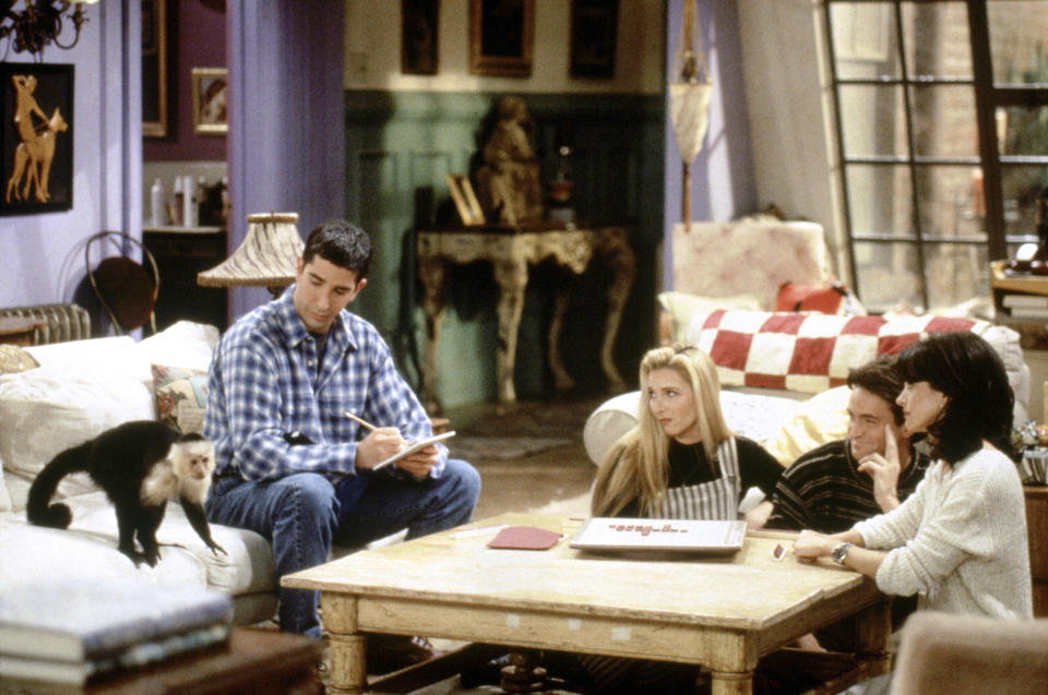 FRIENDS -- 'The One with Two Parts: Part 1' Episode 16 -- Air Date 02/23/1995 -- Pictured: (l-r) Katie/Monkey as Marcel, David Schwimmer as Ross Geller, Lisa Kudrow as Phoebe Buffay, Matthew Perry as Chandler Bing Courteney Cox as Monica Geller  (Photo by NBC/NBCU Photo Bank via Getty Images)