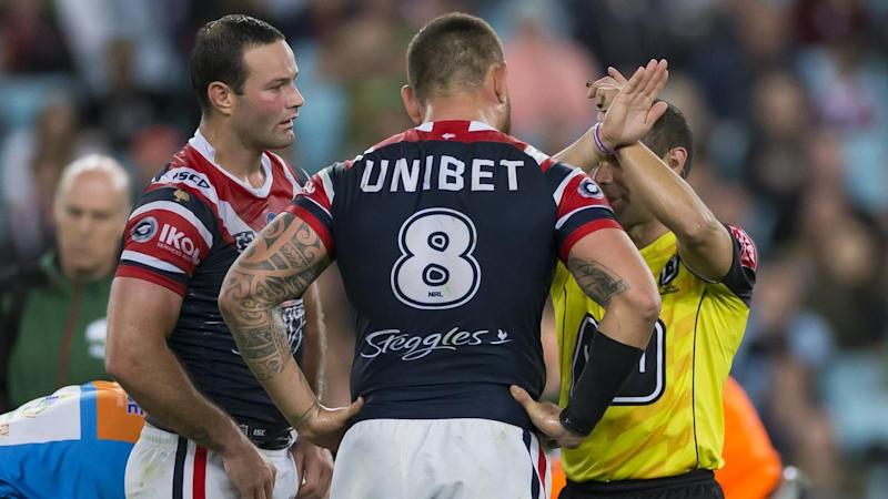 Roosters' Jared Waerea-Hargreaves is put on report after his high hit on Liam Knight